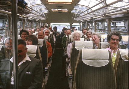 Passengers on a bus, Essex, 1963.