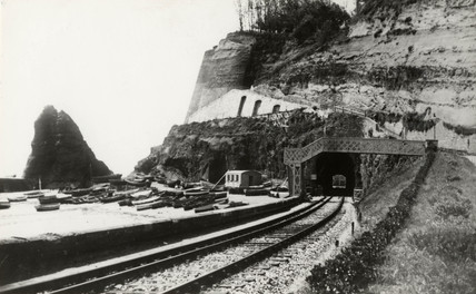 View of Dawlish Tunnel from the station, Devon, c 1900.
