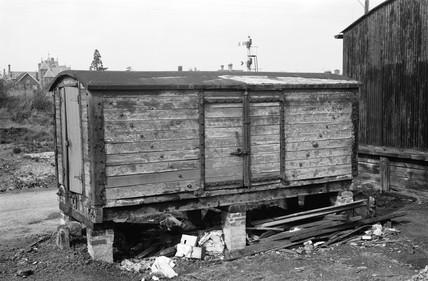 Box van on brick pillars, 1972.