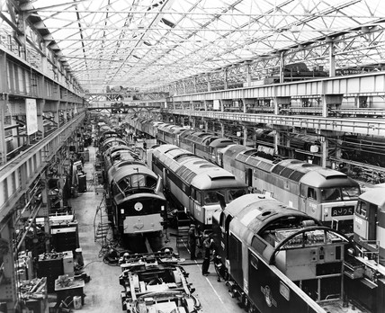 Diesel electrics at Crewe Works, Cheshire, c 1961.
