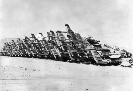 American fighter planes discarded in the desert, USA, 7 October 1963.