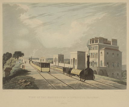 'View of the Manchester & Liverpool Railway, taken at Newton', 1825.