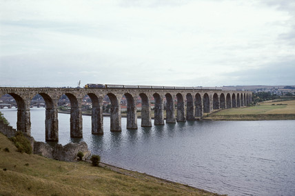 Train on the Royal Border Bridge, c 1974.