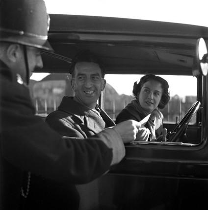 Passengers arriving at Southampton docks, 1951.