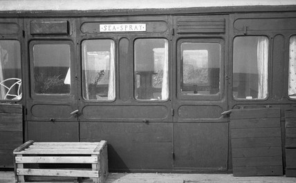 Railway carriage used as a beach hut, 4 July 1939.