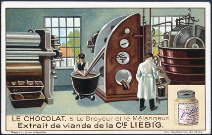 A chocolate factory at work, Liebig trade card, early 20th century.