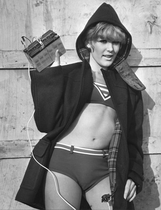 Model wearing battery-heated coat, 2 February 1968.