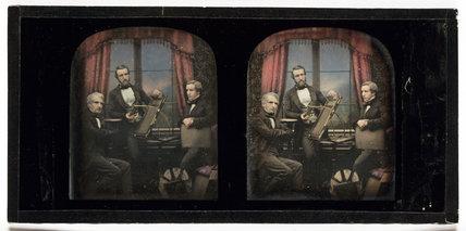 Stereo-daguerreotype of Antoine Claudet, c 1853.