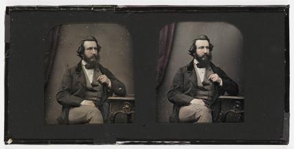 Stereo-daguerreotype of Henry Claudet, c 1853.