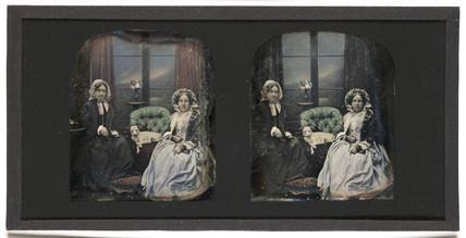 Stereo-daguerreotype of Mrs Antoine Claudet, c 1853.