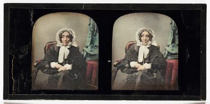 Stereo-daguerreotype of an elderly woman, c 1853.
