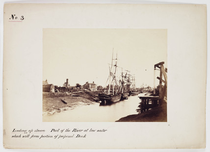 'Looking Upstream: Part Of The River At Low Water...', c 1861.
