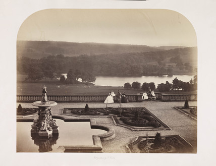 The terrace, Harewood House, c 1860.