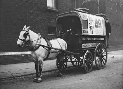 Horse pulling a parcel van at Paddington Station, London, 1936.