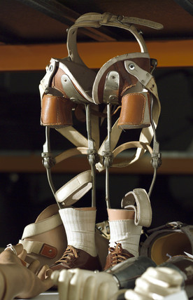 Prosthetic legs in storage at Blythe House, Science Museum, 2007.