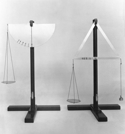Two models of self-indicating balances designed by Da Vinci, 1452-1519.