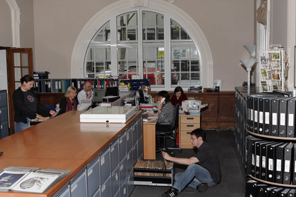 Science & Society Picture Library staff at work, July 2004.