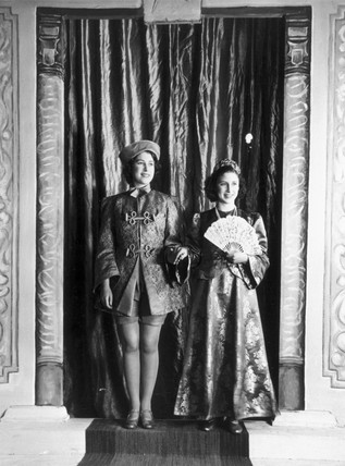 Princesses Elizabeth and Margaret in pantomime,  1943.