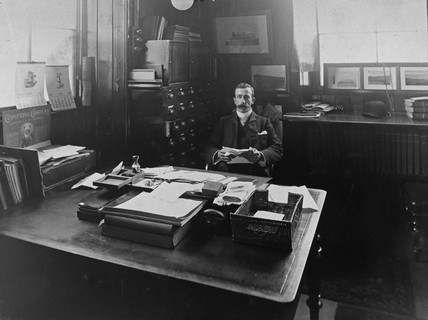Frederick George Smith in his office.  Lochgorm, Inverness, 1911.
