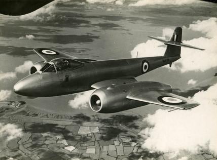 Gloster 'Meteor' over Farnborough, September 1950.