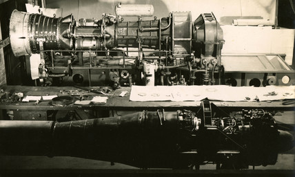 Metropolitan-Vickers L20 engine during testing, c late 1940s.