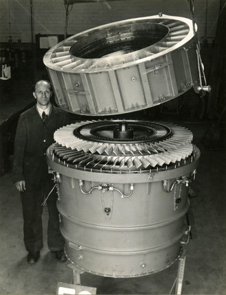 Ducted fan augmentor, F3, in assembly, c late 1940s.