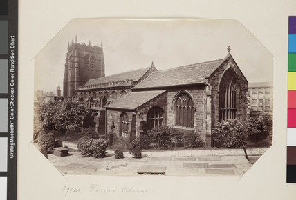 Exterior view of the Parish Church, Bradford [Bradford Cathedral] c. 1895.
