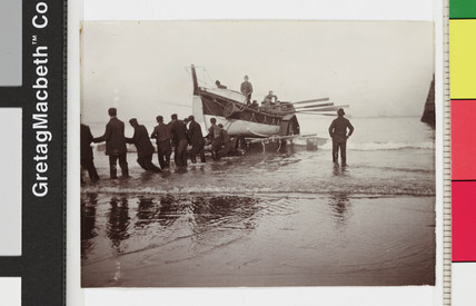 Launching of the Whitby No 2 lifeboat from the beach, c 1900s.