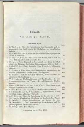 Contents page showing Einstein's theory on light, June 1905.