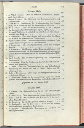Contents page of the journal containing Einstein's relativity theory, 1905.