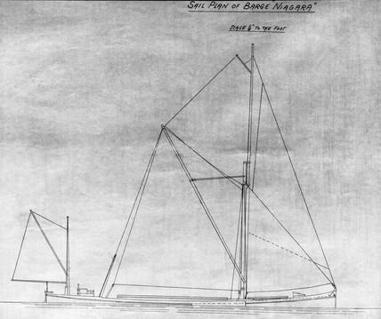 Sail plan of the iron sailing barge 'Niagara'.