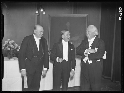 (left to right) Winston Churchill, J. S. Elias and Lloyd George at the Printer's Pension Fund Dinner, 17 December 1934.