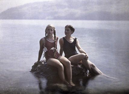 Elise and Eva on a lakeside holiday.