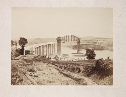 'Saltash Bridge Under Construction', 1858.