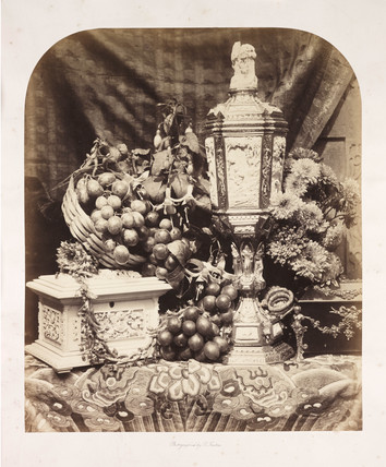 Still life with parian vase and Chinese casket, c 1860.