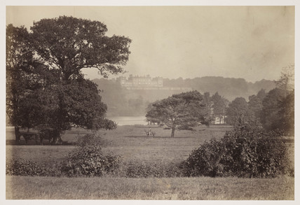 'Harewood House and Park, Grandfather Maynard on Horseback', c 1860.