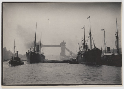 Ships on the Thames and Tower Bridge, c 1894.