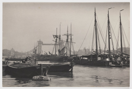 Barges and ships on the Thames and Tower Bridge, c 1894.