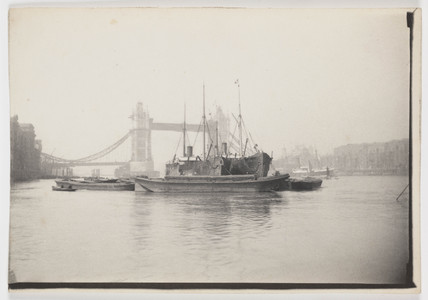 Barges and ships on Thames by Tower Bridge, c 1894.