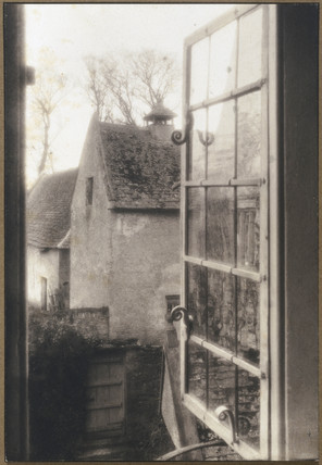 Kelmscott Manor: Through a window in the tapestry room, 1896.