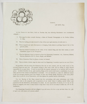 Page of regulations for the Linked Ring, 1893.