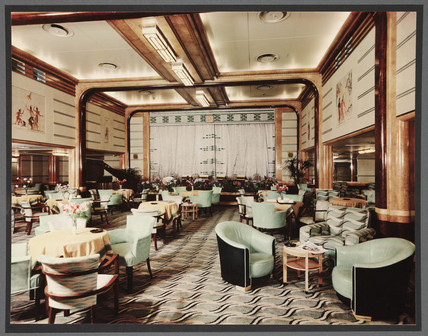 RMS Queen Mary, tourist lounge, c 1935.