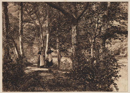 Two women in the woods, c 1885.