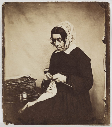 Woman knitting, mid-late 19th century.