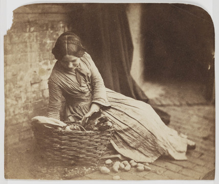 Girl with wicker basket of vegetables, mid-late 19th century.