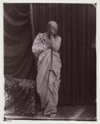 Man dressed in a toga, c 1860s.