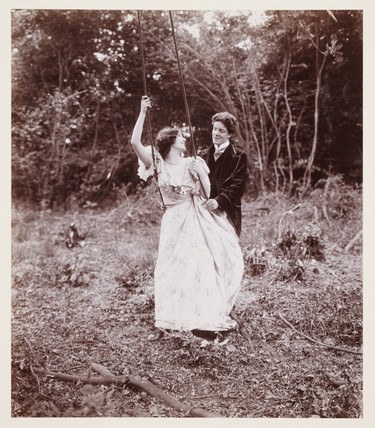 Edwardian portrait, couple with a swing.