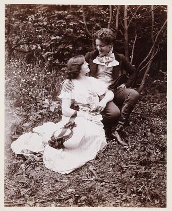 Edwardian portrait, couple in 19th-century dress.