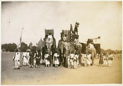 War elephants in chain armour, Bikaner, India, 1863-1870.