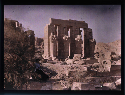Else seated by the ruins, c 1913.